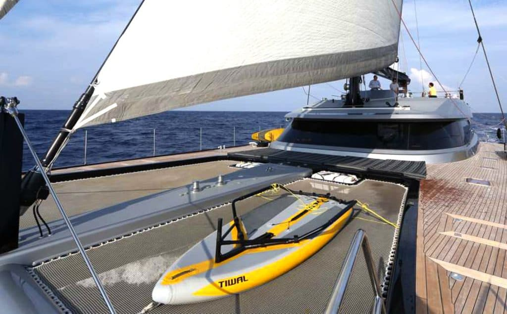Tiwal Superyacht Toy's hull on a catamaran yacht's trampoline