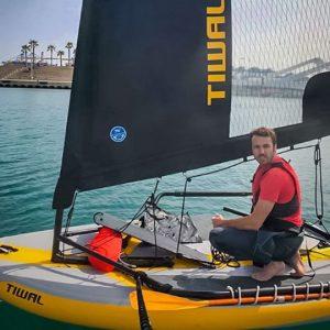 Tiwal 3 inflatable sailboat sailing in Valencia, Spain