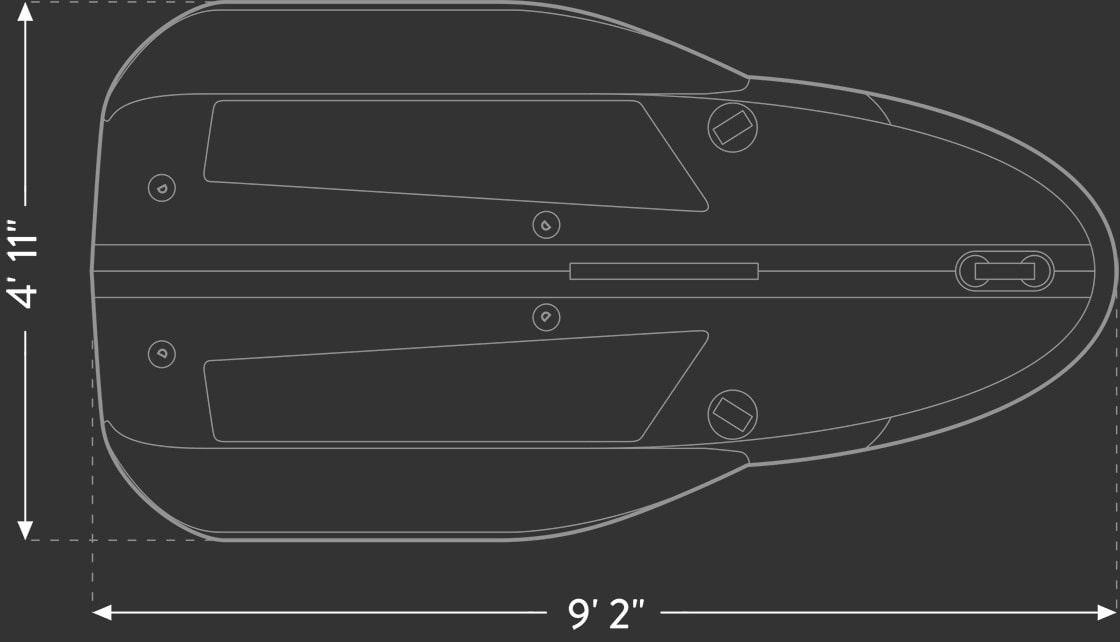 Tiwal 2 inflatable sailboat hull viewed from top