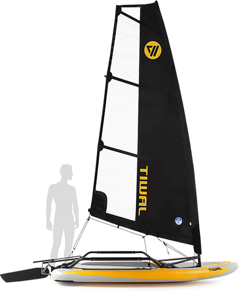 Tiwal Small inflatable sailboat sideview