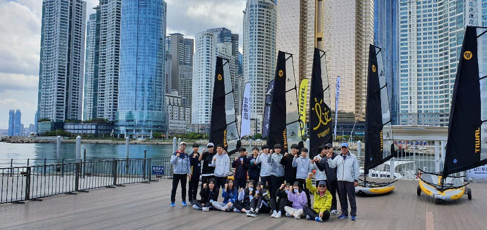 Busan sailing school now teaches on a fleet of Tiwal 3 inflatable sailing dinghies