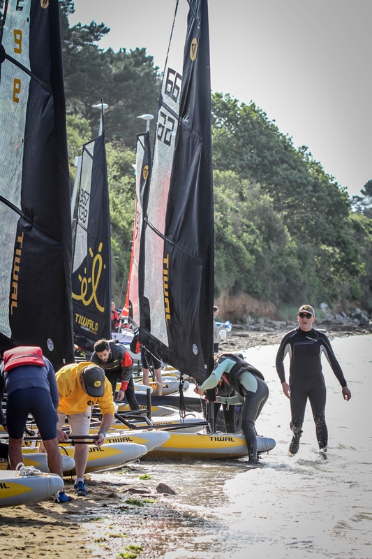 Preparing Tiwal 3 of the inflatable sailboats during the Tiwal Cup 2019