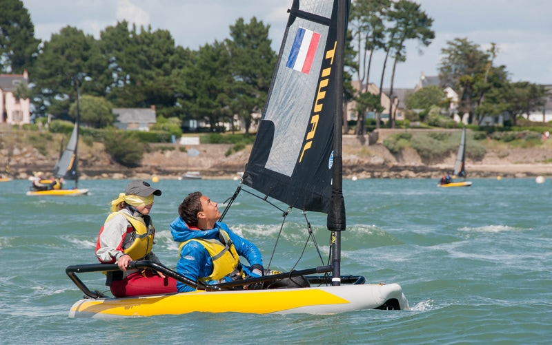 Kids sailing double-handed during the Tiwal Cup 2019 in the Gulf of Morbihan