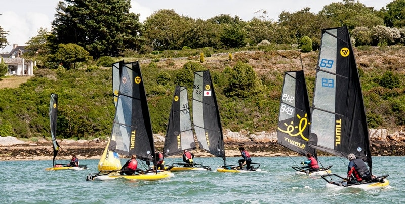 Fleet of 48 inflatable sailing boats during the Tiwal Cup 2019 in the Gulf of Morbihan.