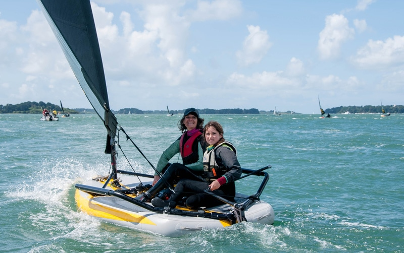 Double-handed crew on Tiwal 3 inflatable sailing dinghy during the Tiwal Cup 2019