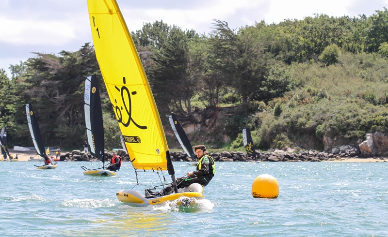 Pierre Le Clainche sailing Tiwal 2 new inflatable dinghy during the Tiwal Cup 2019