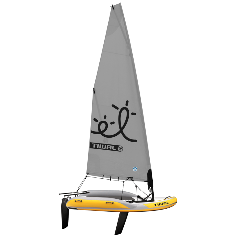 Tiwal 2 inflatable Sailing Dinghy with grey sail and logo