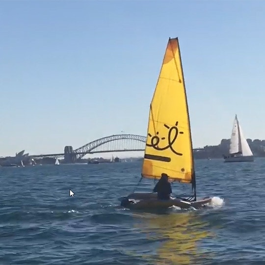 Cruising Sydney Harbour on a Tiwal 2