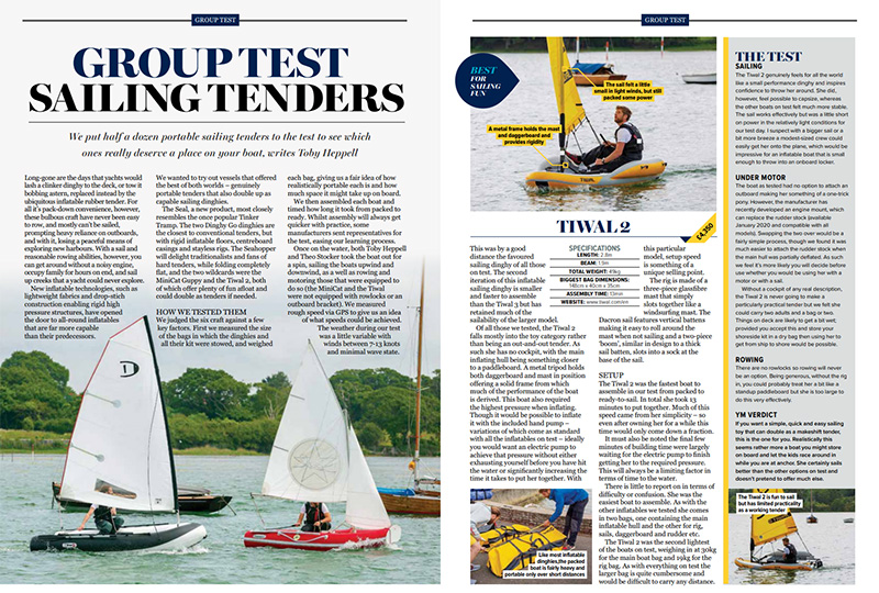 Yachting Monthly Magazine reviews the Tiwal 2 Sailing Tended