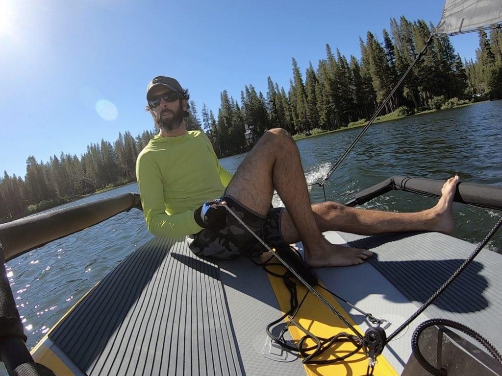 Single handed sailing on a lake