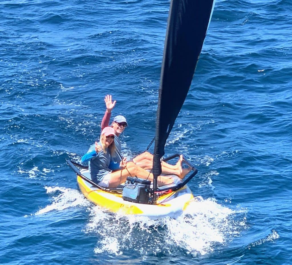 Mark double handed sailing with his wifr on his Tiwal 3